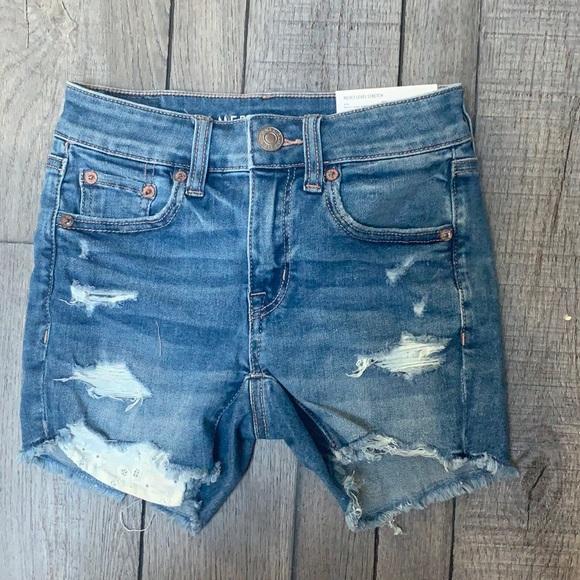 light wash midi shorts